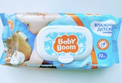Cалфетки влажные baby boom детские с экстрактом алоэ 72шт